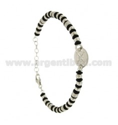 BRACELET BALL 3.5 MM AND WASHERS RUBBER &39WITH CENTRAL ROUND WITH WIND ROSE SILVER RHODIUM TIT 925 ‰ CM FROM 18 TO 21