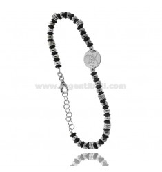 BALL BRACELET 3.5 MM AND RUBBER WASHERS WITH ROUND CENTRAL WITH SKULL IN RHODIUM-PLATED SILVER TIT 925 ‰ CM FROM 18 TO 21