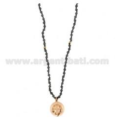 NECKLACE STONE DURA 4 MM 80 CM MIT ENGELN Anruf 18 MM SILBER Rose Gold überzogenen TIT 925