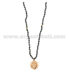 NECKLACE STONE DURA 4 MM 80 CM WITH ANGELS CALL 18 MM SILVER ROSE GOLD PLATED TIT 925