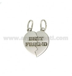 CIONDOLO CUORE DIVISIBILE BEST FRIEND MM 20X18 IN ARGENTO RODIATO 925‰