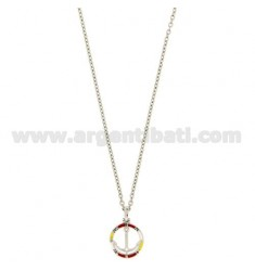 NECKLACE CABLE WITH STILL IN CIRCLE IN SILVER RHODIUM AND GLAZED TIT 925 ‰ CM 45