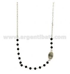Halskette mit Steinen facettierten schwarzen 4 mm mit OVAL 15X10 MM MIT NOCH IN SILBER rhodiniert TIT 925 ‰ 45 CM