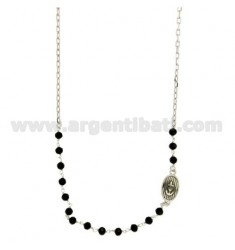 NECKLACE WITH STONES faceted BLACK 4 MM WITH OVAL 15X10 MM WITH STILL IN SILVER PLATED RHODIUM TIT 925 ‰ CM 45