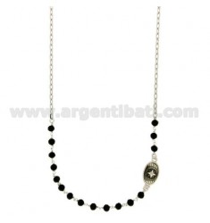 NECKLACE WITH STONES faceted BLACK 4 MM WITH OVAL 15X10 MM WITH WIND ROSE SILVER PLATED RHODIUM TIT 925 ‰ CM 45
