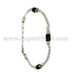 Curb Armband mit Gummischeiben &quotWECHSELN Silber Rhodium TIT 925 ‰ CM 20