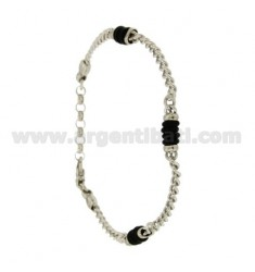 Curb BRACELET WITH RUBBER WASHERS &39ALTERNATE SILVER RHODIUM TIT 925 ‰ CM 20