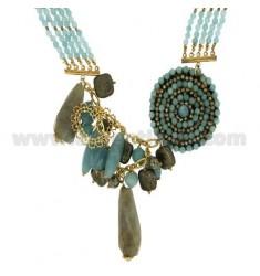 Halskette in HARD Stein und Silber TIT 925 ‰ CM 45