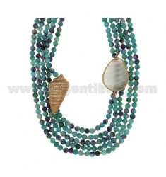 Halskette aus hartem Stein und Silber.Kupfer.TIT 925 ‰ CM 45