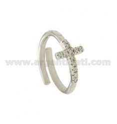 RING WITH CROSS IN SILVER RHODIUM TIT 925 ‰ ADJUSTABLE SIZE AND ZIRCONIA