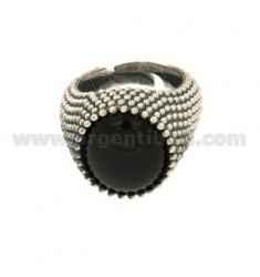 OVAL RING WITH ONYX SILVER BRUNITO TIT 925 ‰ ADJUSTABLE MEASURE 21
