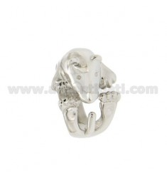TERRIER DOG IN SILVER RING RHODIUM TIT 925 ‰ ADJUSTABLE SIZE