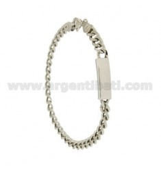 Curb BRACELET EMPTY PLATE SIDE WITH 5 MM SILVER RHODIUM 925 ‰ CM 20
