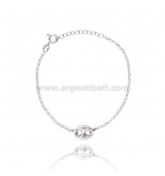 ROLO BRACELET WITH CENTRAL MARINE MESH IN SILVER RHODIUM TIT 925 ‰ CM 20