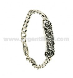 Curb BRACELET 8 MM WITH PLATE IN SILVER BRUNITO TIT 925 ‰ CM 20