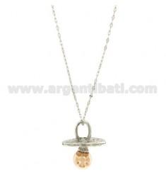 KETTE 90 CM MIT TON Schnuller 46X40 MM Bronze überzogen Rhodium und ROSE GOLD