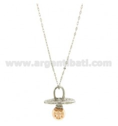 NECKLACE 90 CM WITH SOUND pacifier 46X40 MM BRONZE PLATED RHODIUM AND ROSE GOLD