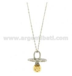 KETTE 90 CM MIT TON Schnuller 46X40 MM Bronze überzogen Rhodium und in Gold