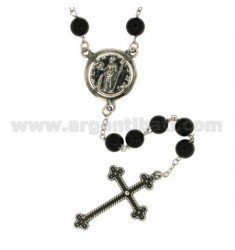COLLANA ROSARIO CON SFERE IN ONICE NERO MM 6 CON MONETA E CROCE IN ARGENTO BRUNITO TIT 925‰ CM 70