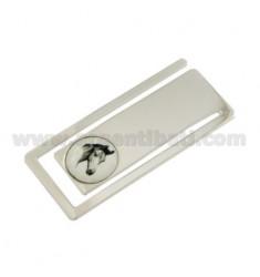 Clips de dinero rectangulares MM 56X24 CON cabeza de caballo en cerámica plata del rodio TIT 925 ‰
