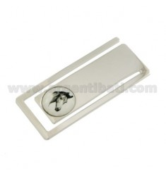 MONEY CLIPS RECTANGULAR MM 56X24 WITH HORSE HEAD IN CERAMICS SILVER RHODIUM TIT 925 ‰