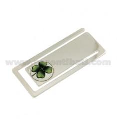 Clips de dinero rectangulares MM 56X24 CON EL TRÉBOL en cerámica plata del rodio TIT 925 ‰
