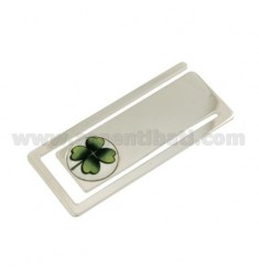 MONEY CLIPS RECTANGULAR MM 56X24 WITH CLOVER IN CERAMICS SILVER RHODIUM TIT 925 ‰
