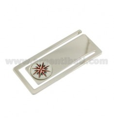 MONEY CLIPS RECTANGULAR MM 56X24 WITH ROSE OF THE WINDS IN CERAMICS SILVER RHODIUM TIT 925 ‰