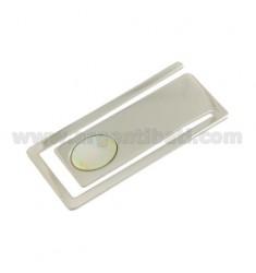 Geld.Clips rechteckige MM 56X25 mit Perlmutt Silber Rhodium TIT 925 ‰