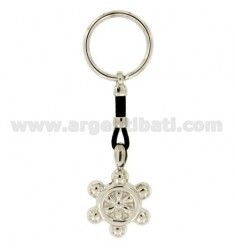 RUDDER KEY RING 32x25 MM SILVER RHODIUM 925 ‰ AND LEATHER