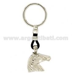 Schlüsselring 27x30 MM HORSE HEAD Silber Rhodium 925 ‰ UND LEDER