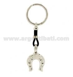 Schlüsselring HORSESHOE MM 28x23 Silber Rhodium 925 ‰ UND LEDER