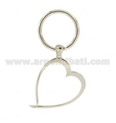 Schlüsselring Herz MM 48X38 Silber Rhodium TIT 925 ‰