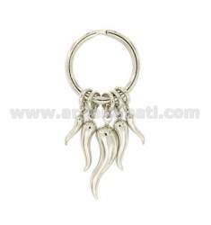 KEY RING WITH HORNS IN SILVER RHODIUM TIT 925 ‰