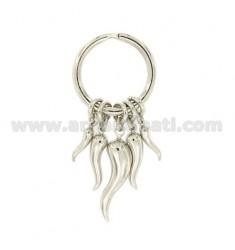Schlüsselanhänger mit Hörnern Silber Rhodium TIT 925 ‰