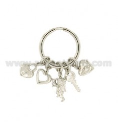 KEY RING WITH LOVE HEARTS IN SILVER RHODIUM TIT 925 ‰