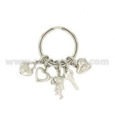 Schlüsselanhänger mit Love Hearts in Silber Rhodium TIT 925 ‰