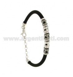 BRACELET RUBBER &39BLACK WITH NUGGETS IN SILVER RHODIUM TIT 925 ‰ CM 17.21