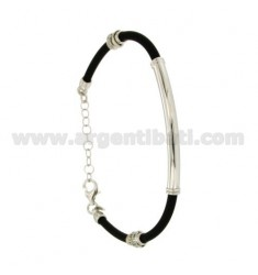 BRACELET RUBBER &39WITH PLATE IN SILVER RHODIUM TIT 925 ‰ CM 19.22