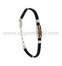 BRACELET IN SILK CERATA WITH PLATE WITH GLAZED STILL FOCUSED WITH ASSORTED COLORS SILVER RHODIUM TIT 925 ‰ CM 18.21