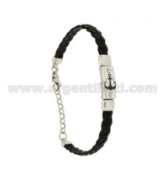 BRAID LEATHER BRACELET WITH PLATE WITH STILL A GLAZED FIRE, ASSORTED COLORS SILVER RHODIUM TIT 925 ‰ CM 18.21