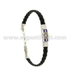 BRAID LEATHER BRACELET WITH PLATE WITH RUDDER GLAZED FIRE, ASSORTED COLORS SILVER RHODIUM TIT 925 ‰ CM 18.21