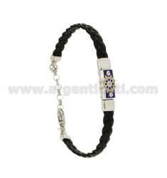 TRENZA CON PLACA pulsera de cuero con el timón GLAZED FUEGO, colores variados plata del rodio TIT 925 ‰ 18.21 CM
