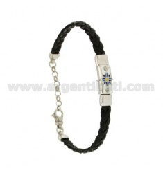 BRAID LEATHER BRACELET WITH PLATE WITH WIND ROSE GLAZED FIRE, ASSORTED COLORS SILVER RHODIUM TIT 925 ‰ CM 18.21