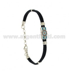 BRACELET IN SILK CERATA WITH PLATE WITH RUDDER GLAZED FIRE WITH ASSORTED COLORS SILVER RHODIUM TIT 925 ‰ CM 18.21