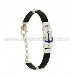 RUBBER BRACELET WITH PLATE WITH FIRE-ENAMELED STILL, ASSORTED COLORS IN RHODIUM-PLATED SILVER TIT 925 ‰ CM 18-21