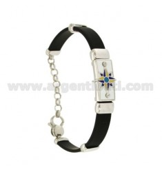 RUBBER BRACELET WITH PLATE WITH WIND ROSE FIRE ENAMELED, ASSORTED COLORS IN RHODIUM-PLATED SILVER TIT 925 ‰ CM 18-21