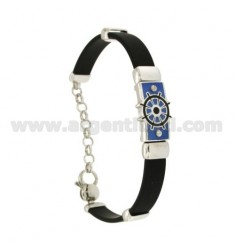 RUBBER BRACELET WITH PLATE WITH FIRE-ENAMELED RUDDER, ASSORTED COLORS IN RHODIUM-PLATED SILVER TIT 925 ‰ CM 18-21