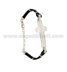 RUBBER BRACELET WITH CROSS IN SILVER RHODIUM PLATED TIT 925 ‰ CM 18-22
