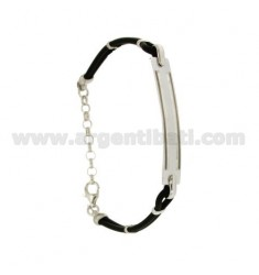 BRACELET RUBBER &39WITH PLATE.THROUGH IN SILVER RHODIUM TIT 925 ‰ CM 18.22